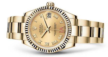 Luxury Yellow Gold Rolex Lady-Datejust Roman Replica Watches