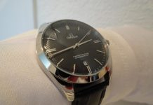 Black dial omega master co-axial chronometer replica watch